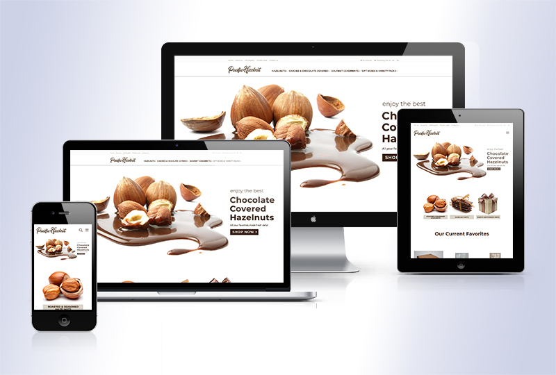 Pacific Hazelnut Farms new responsive e-commerce store - device friendly, mobile-friendly HTML 5